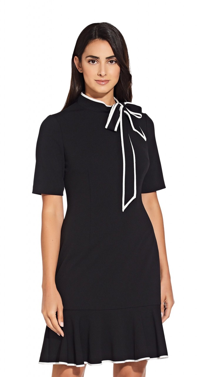 Knit crepe tie neck dress