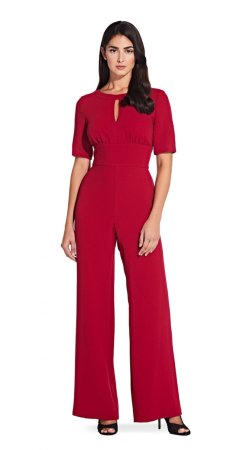 Short sleeve wide leg jumpsuit with keyhole detail