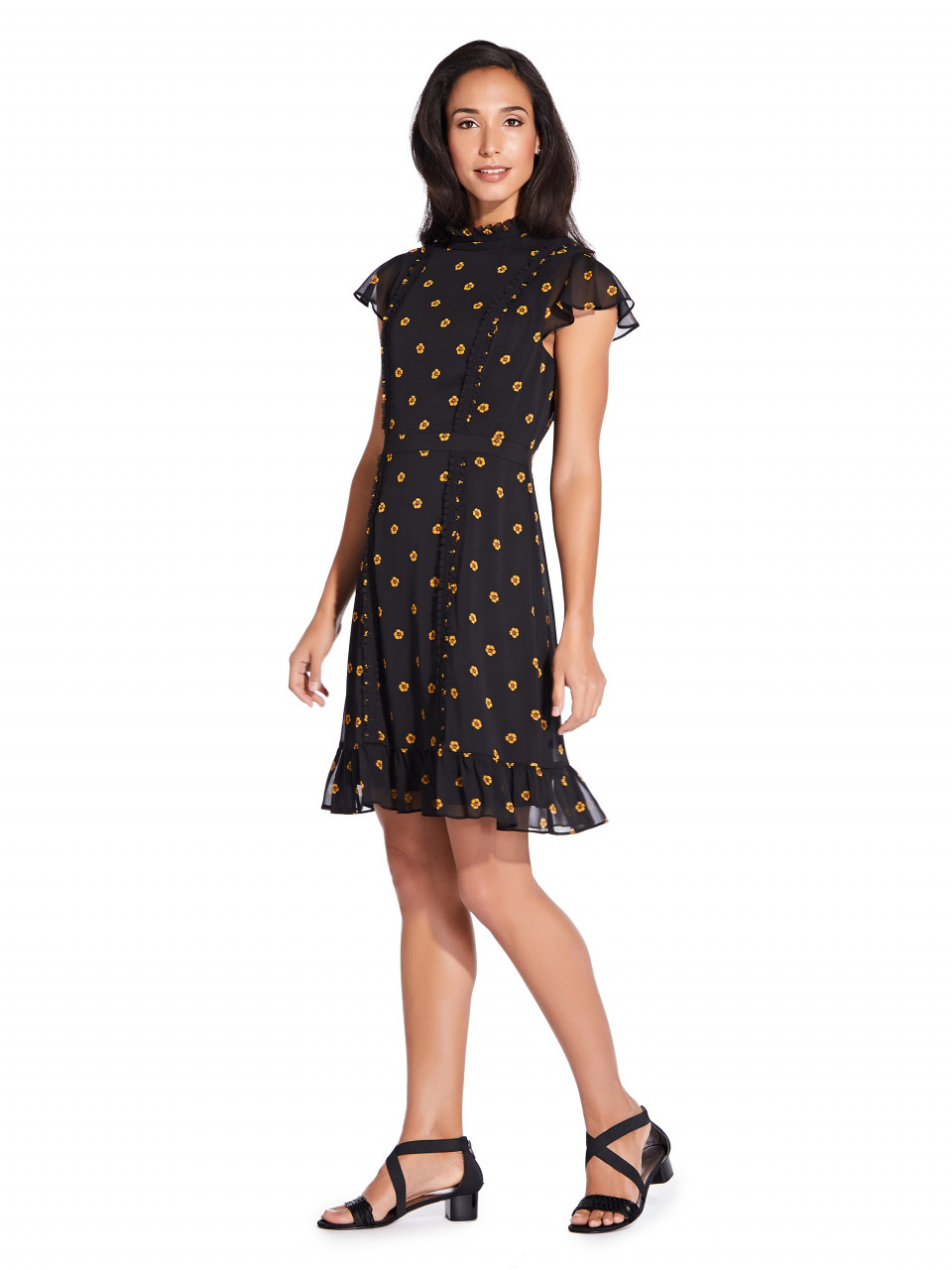 Daisy dot ruffled a line dress