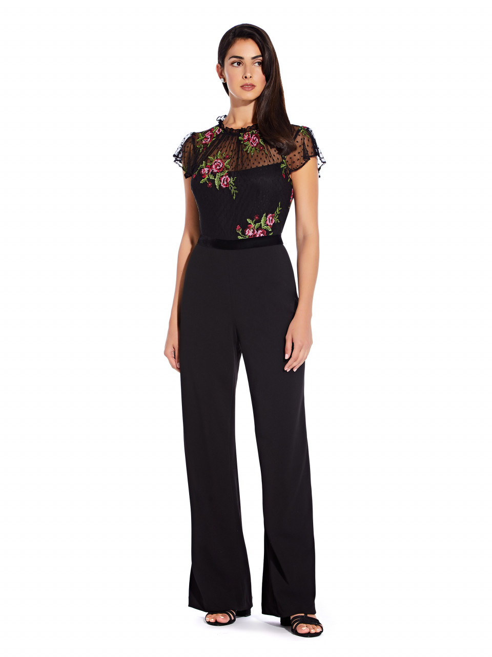 Rose embroidery jumpsuit