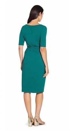 Elbow sleeve sheath dress with draped waist detail