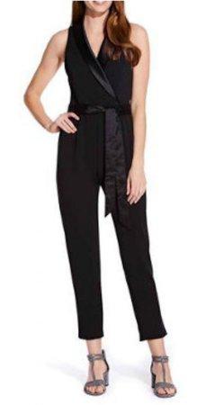 Knit crepe tuxedo jumpsuit
