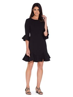 Knit crepe ruffled shift dress