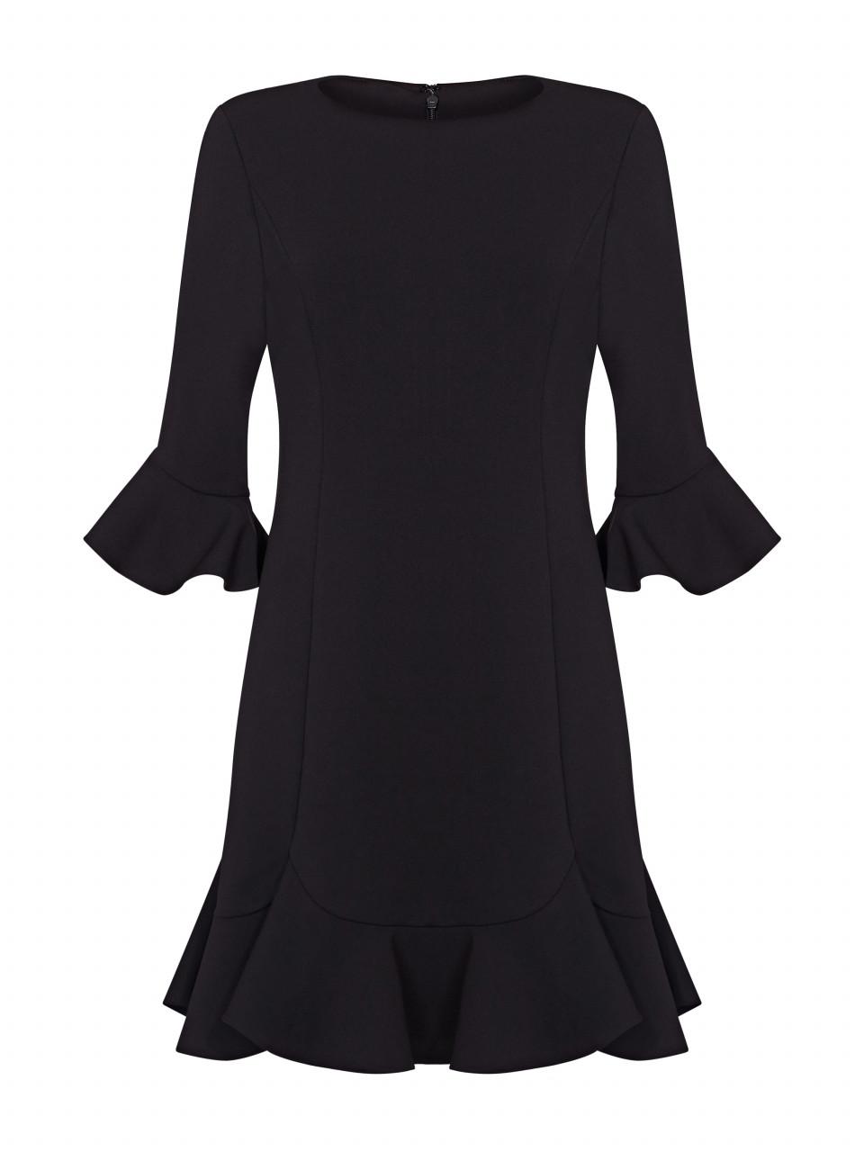 Knit crepe ruffled shift dress