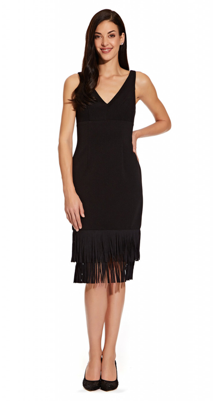 Sleeveless sheath dress with fringe detail