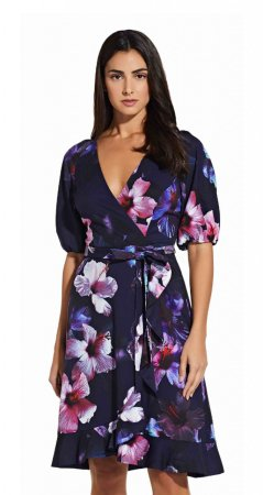 Floral wrap dress with ruffle hem