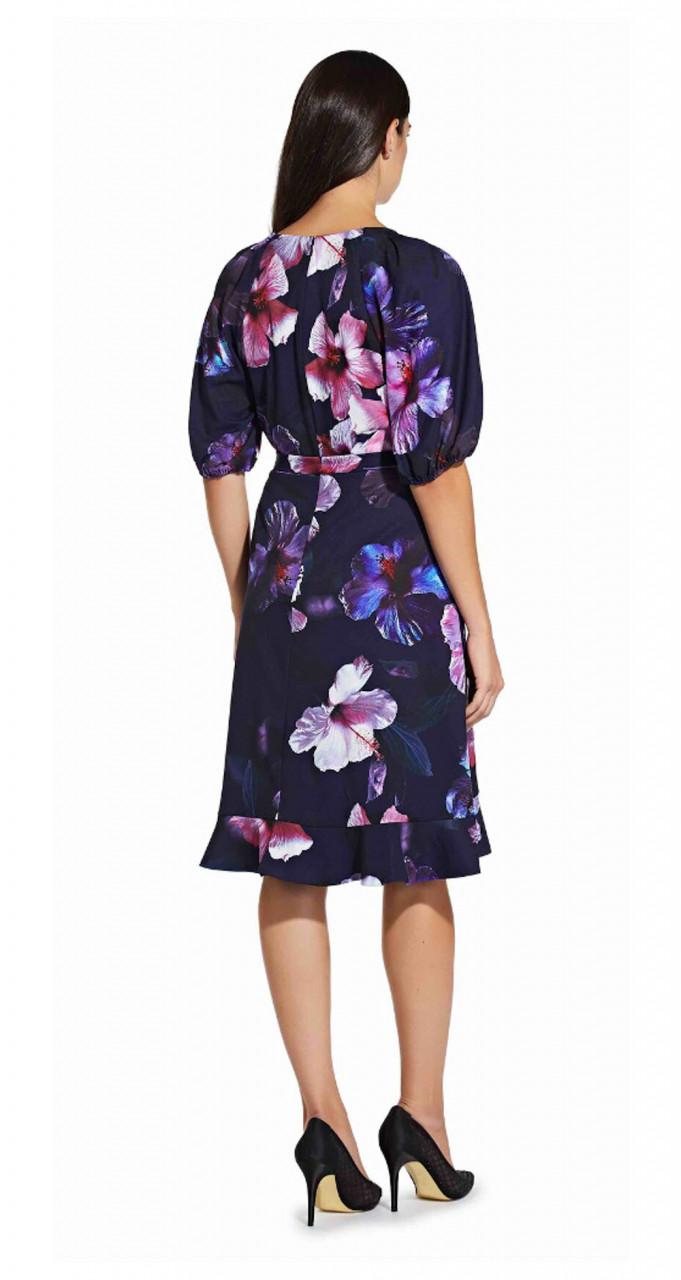 Floral wrap dress with ruffle hem