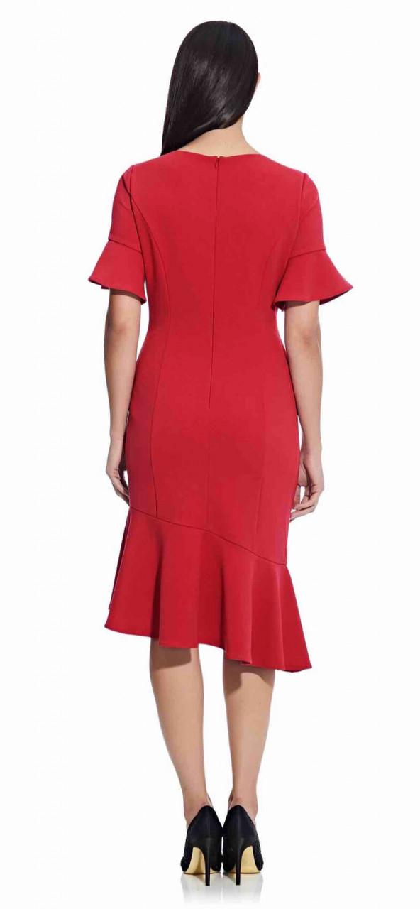 Midi Sheath Dress with Ruffle Detail