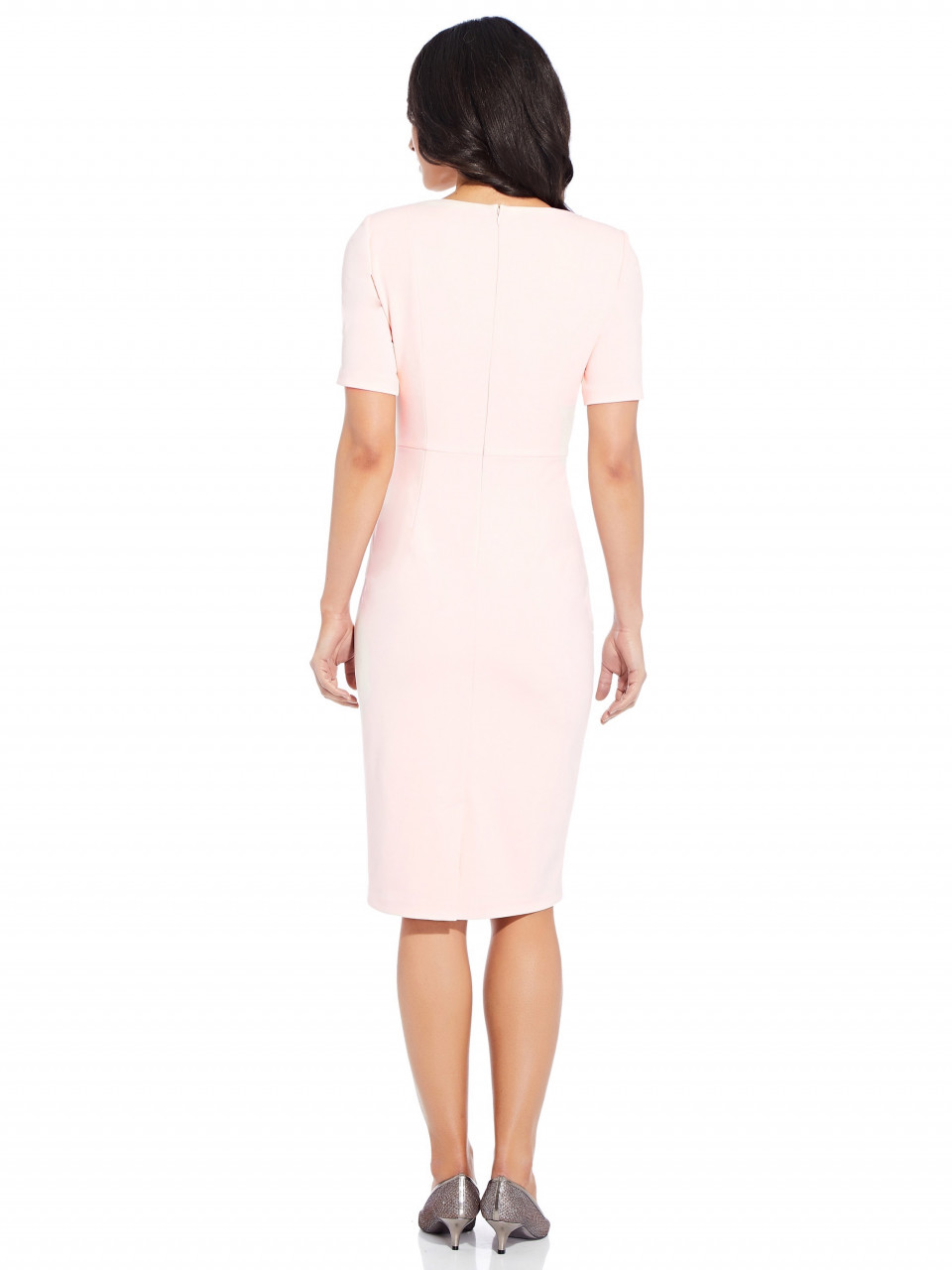 Knit crepe tie sheath dress