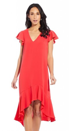 Gauzy crepe high low dress