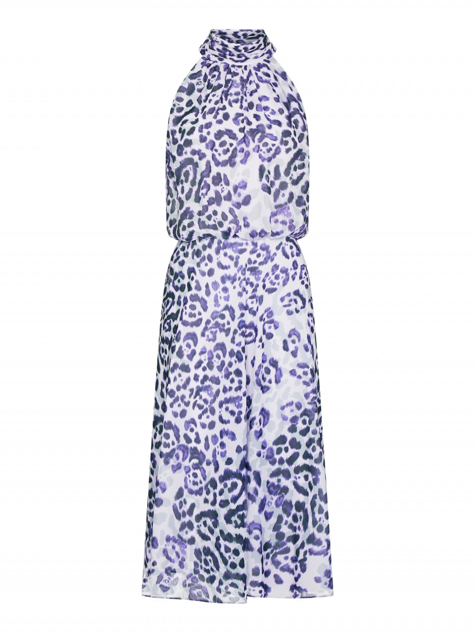 Watercolor leopard bias dress