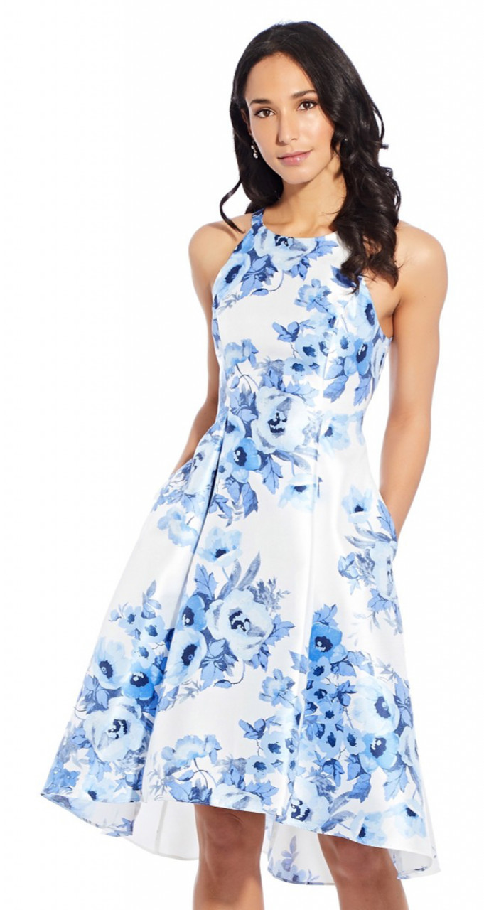 Toile floral high-low dress