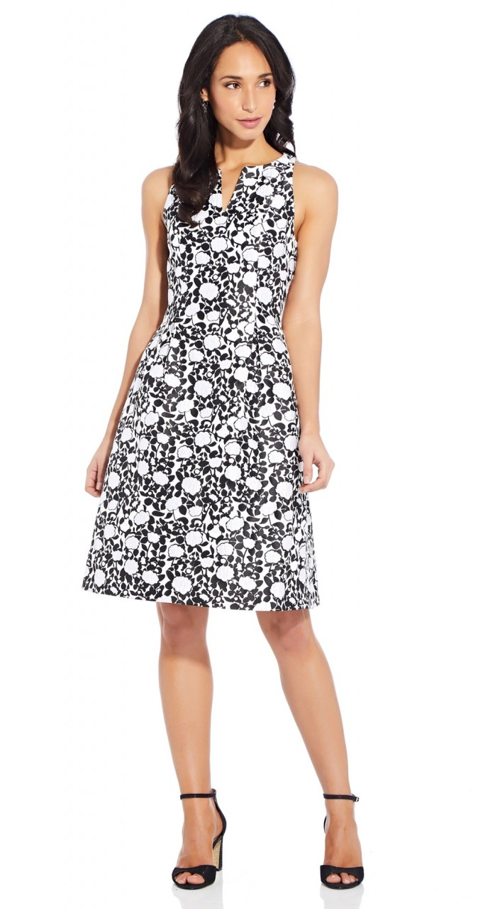 Floral jacquard fit and flare