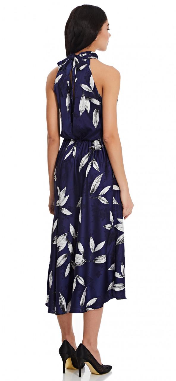 Tossed leaves halter dress