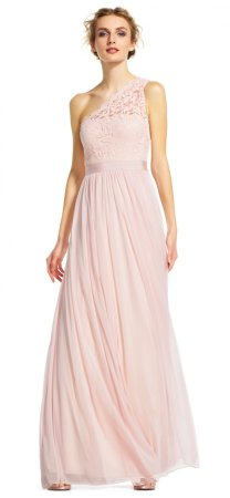 One shoulder lace tulle gown