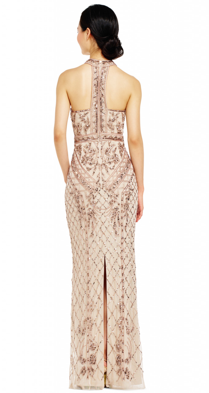 Halter beaded column gown
