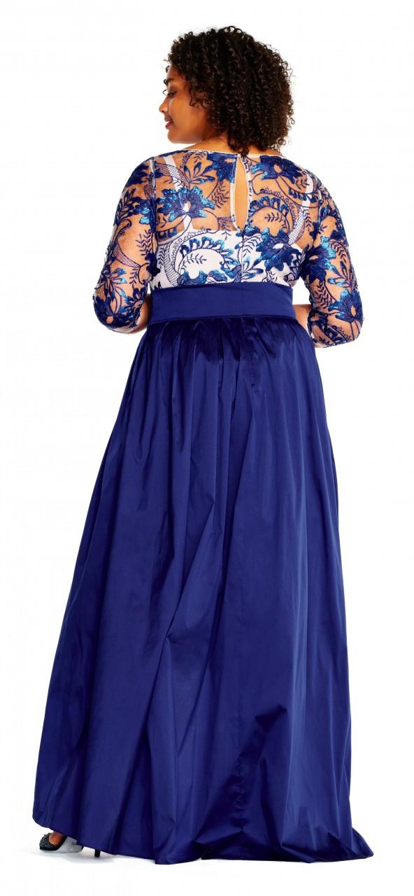 Vestido asimétrico con encaje floral y mangas 3/4