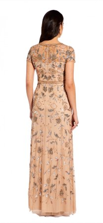 Illusion bead floral gown