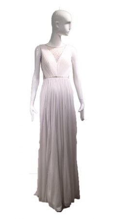 Sleeveless stretch tulle bead gown