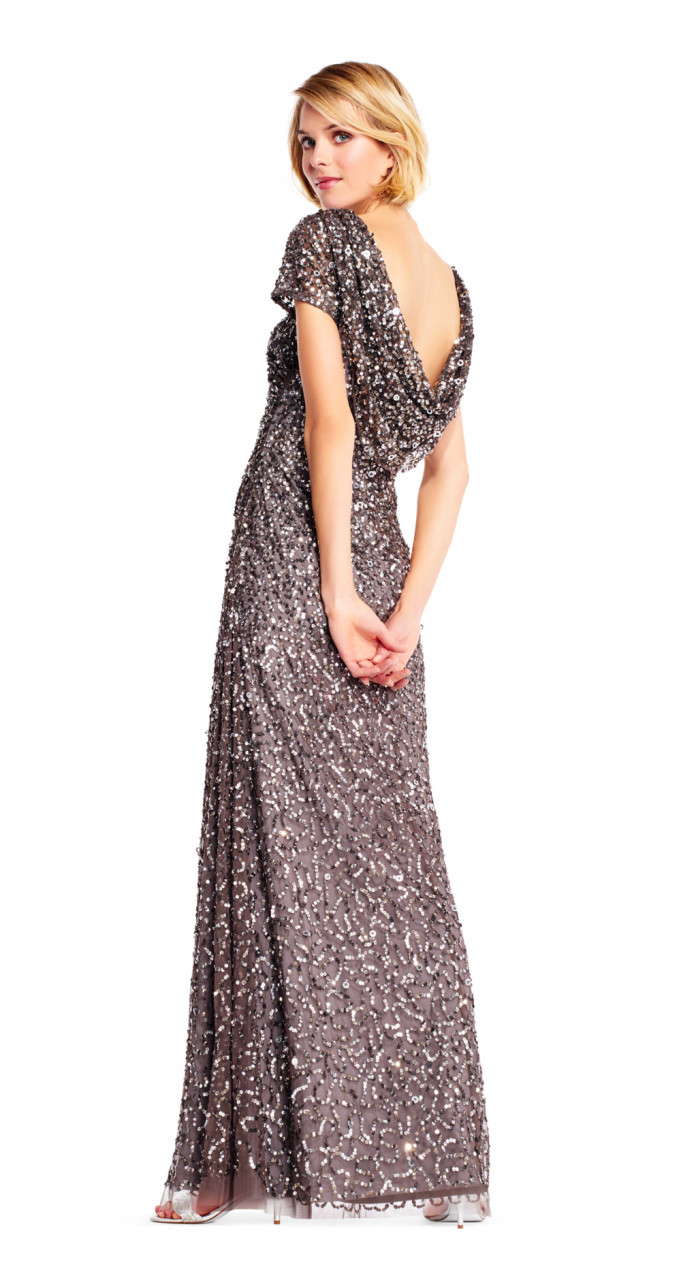 Sequin draped dress