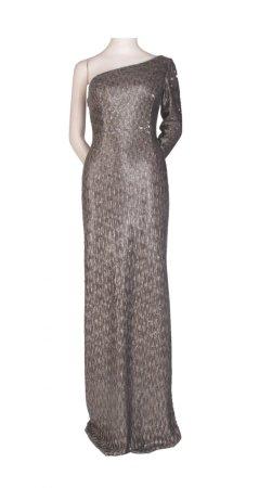Sequin halter column gown