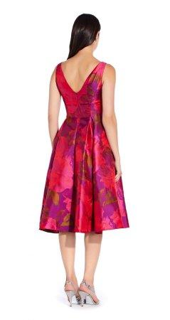 Tea length jacquard dress