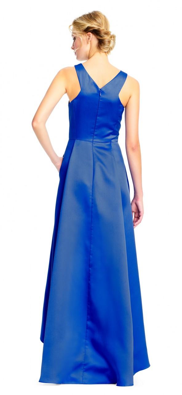 vestido de noche asimétrico halter con aplicaciones