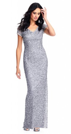 Scallop beaded v-neck gown