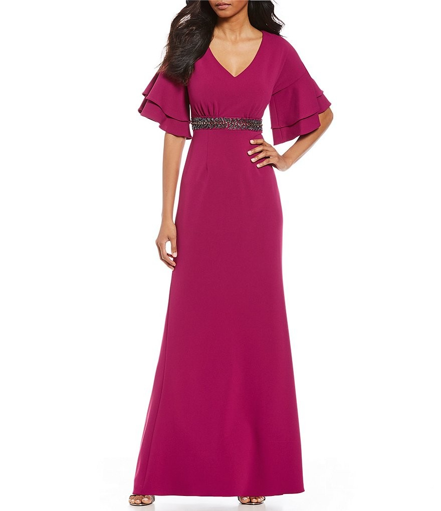 Long v neck crepe dress
