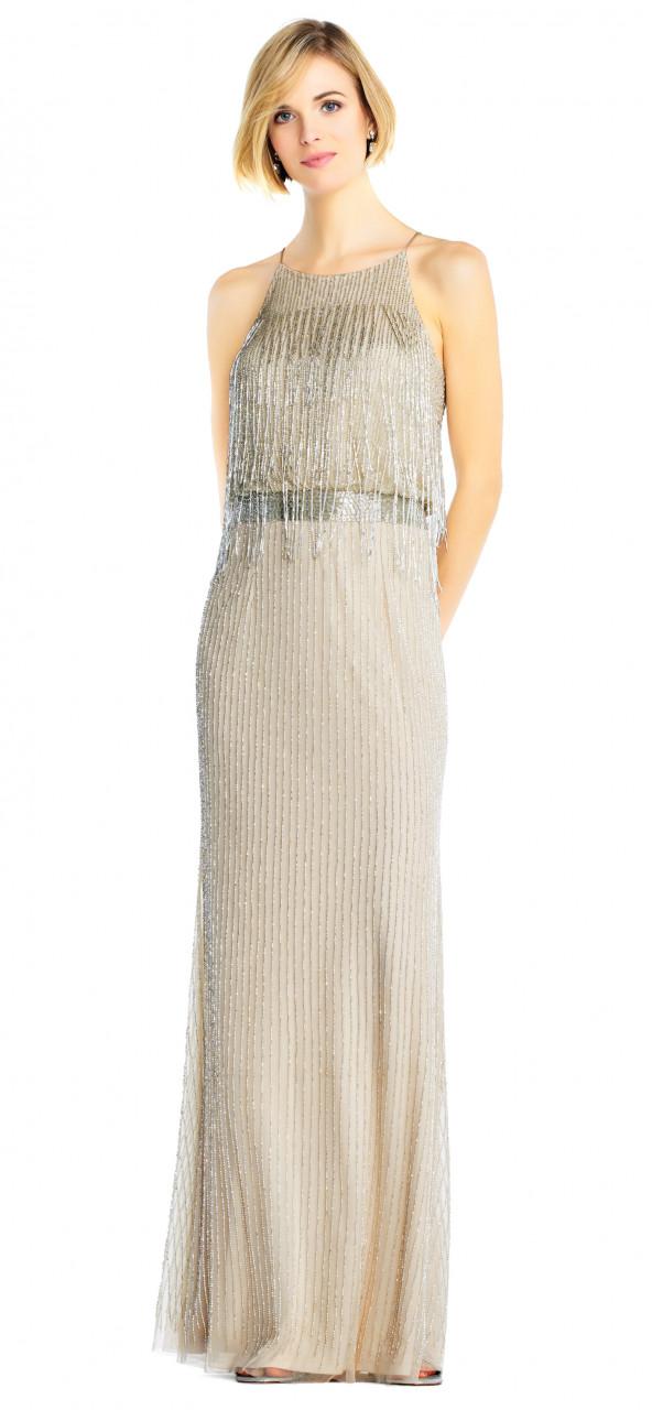 Vestido largo con flequillo de aplicaciones cuello halter