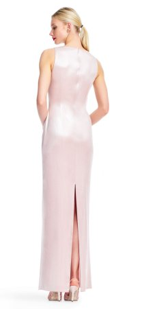 Vestido de columna de terciopelo sin mangas con detalle de nudo