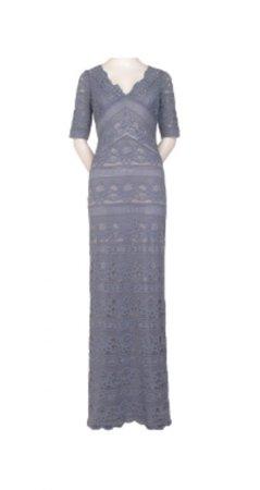 Stripe lace long dress