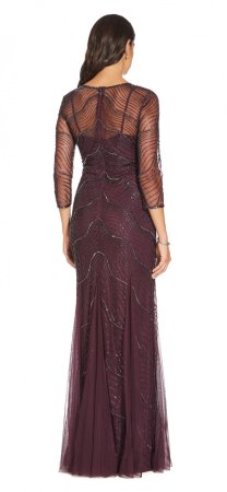 Deco beaded godet gown