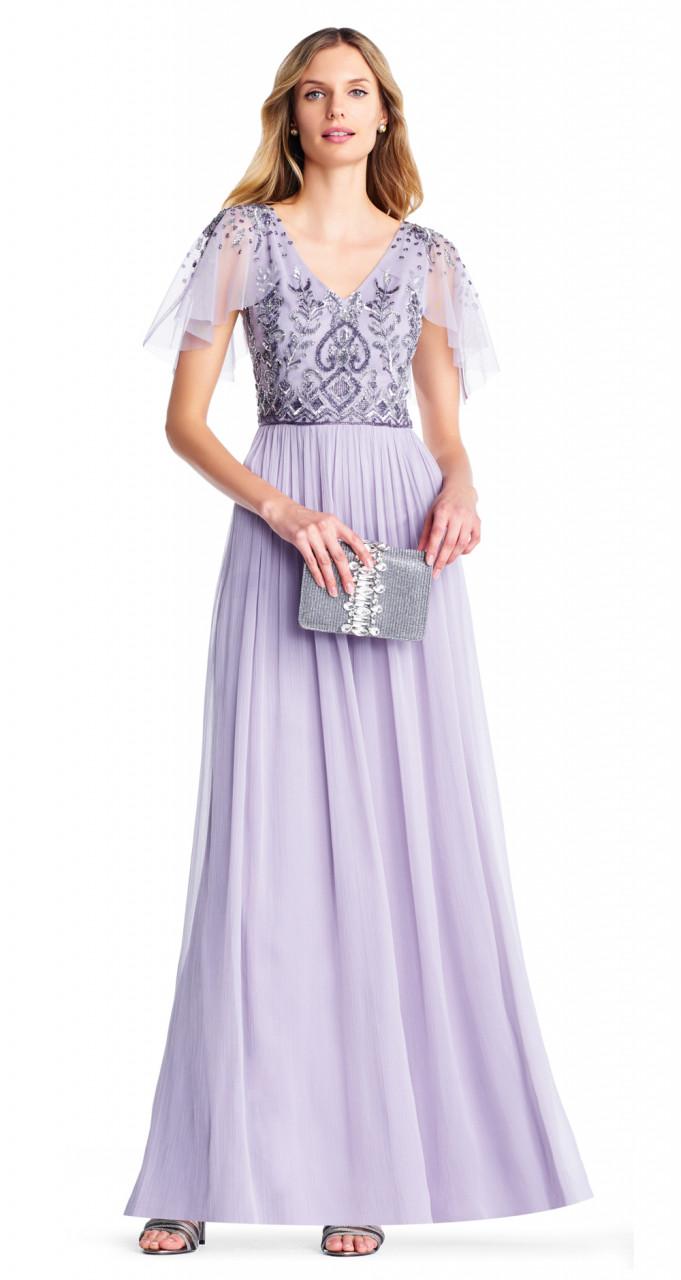 Bead bodice long chiffon dress