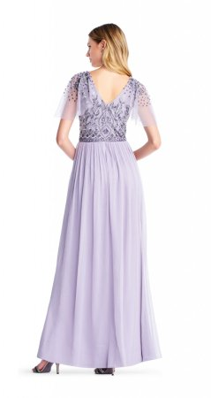 Bead bodice long chiffon dress
