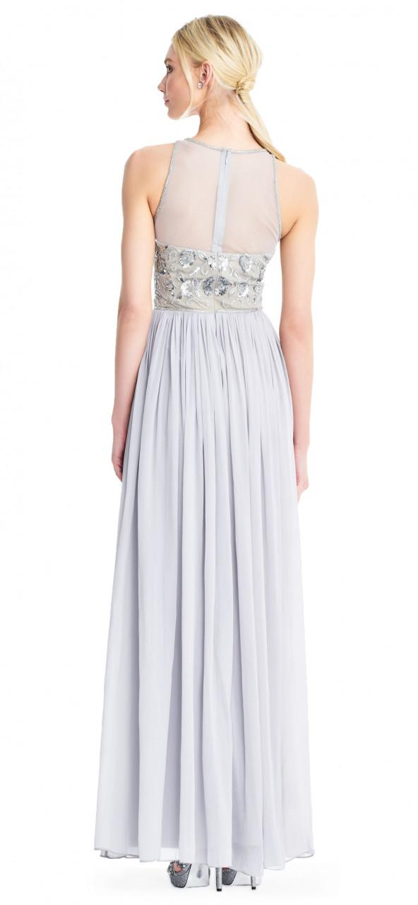 vestido largo de gasa con corpiño de cuentas de flores