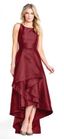 vestido alto mikado bajo con detalles asimétricos
