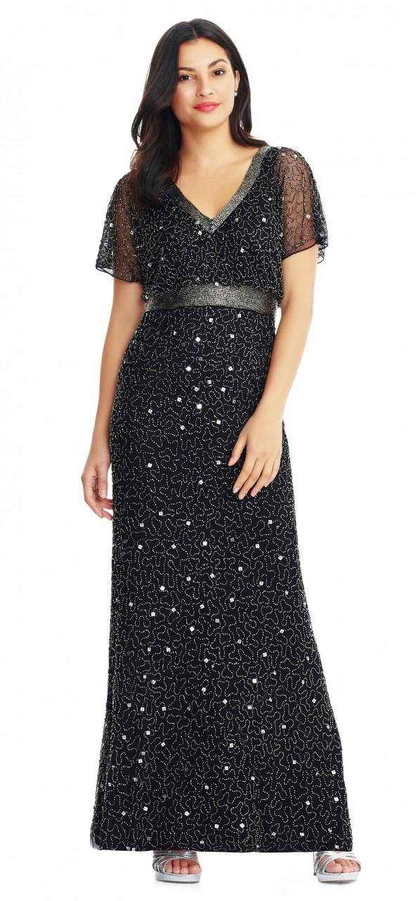 vestido de cuentas de remolino con mangas flutter transparentes