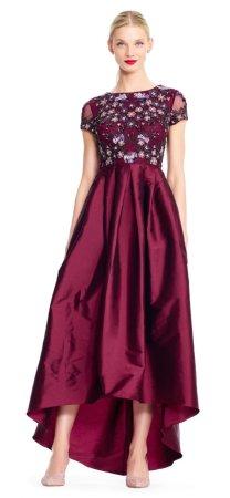 Vestido asimetrico con falda de tafetán y corpiño de flores