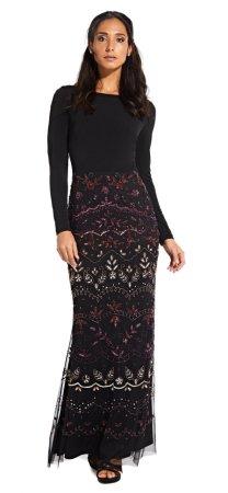 Vestido sirena de manga larga con falda de cuentas ombre