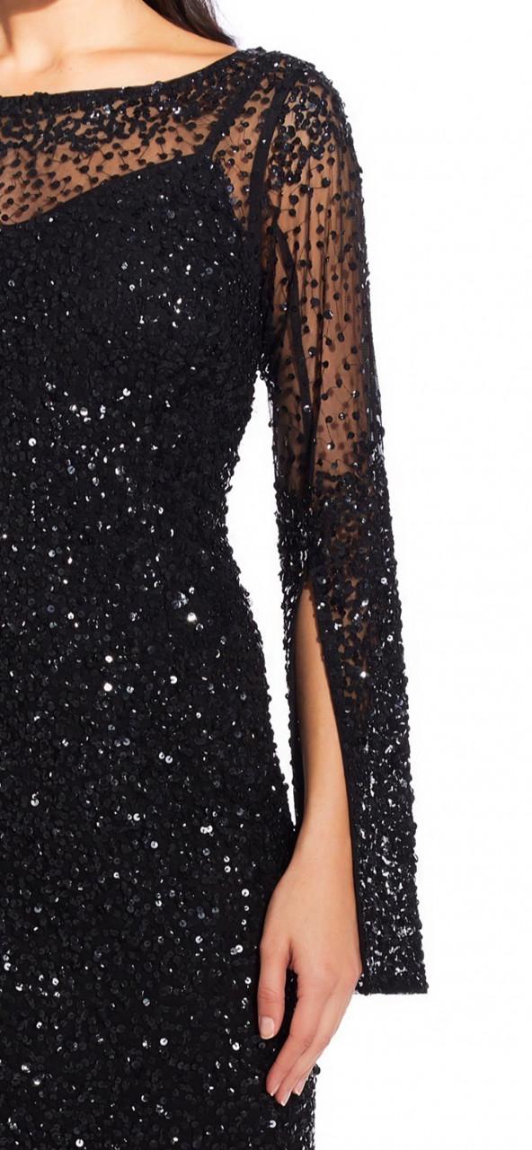 Vestido con aplicaciones manga larga y detalles transparentes