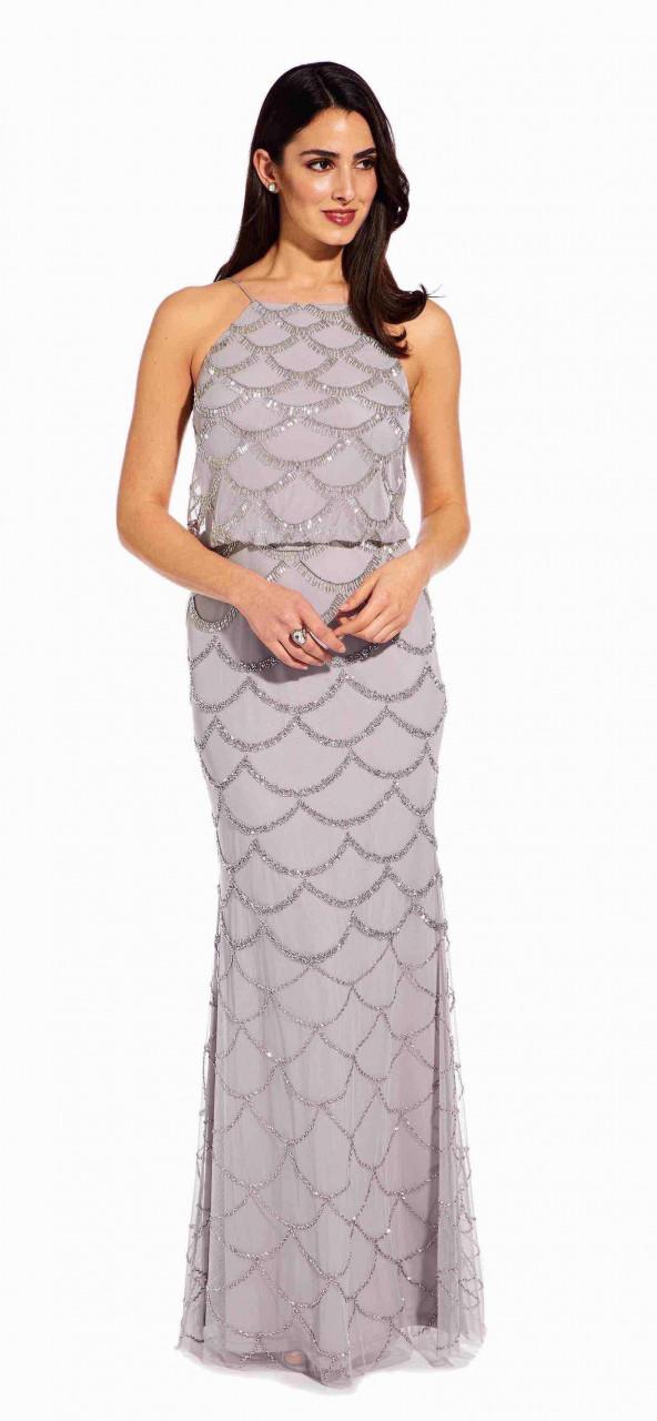 Beaded halter blouson gown