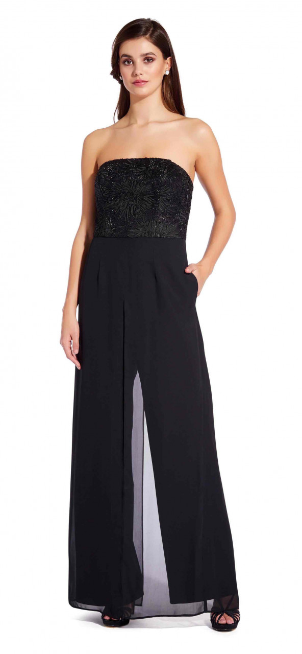 Soutache crepe jumpsuit