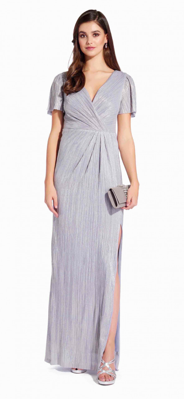 Vestido largo tejido metálico