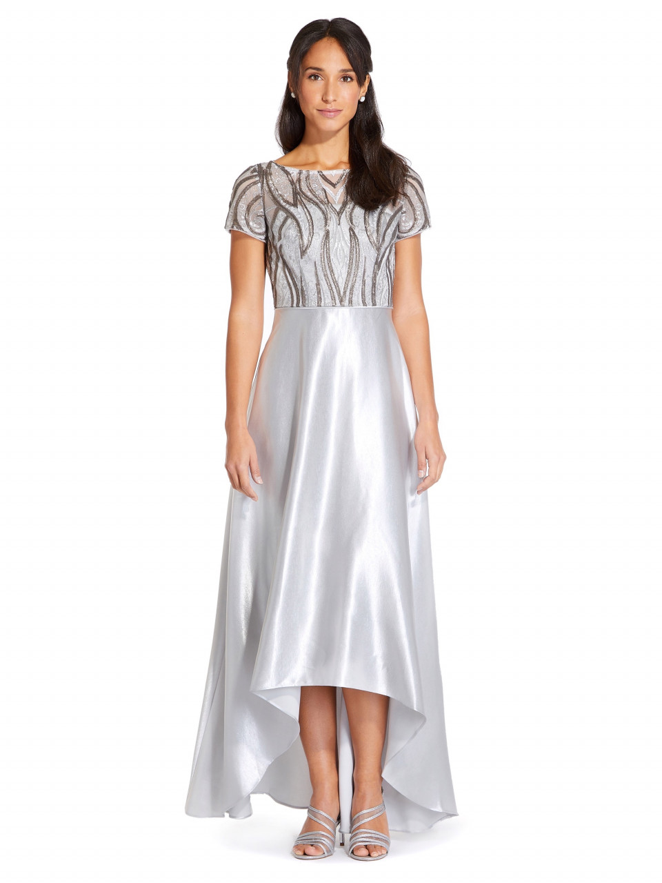 Embroidery Satin High Low Gown