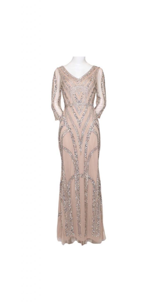 Beaded mesh long dress