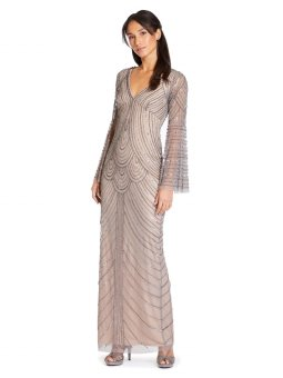 Beaded bell sleeve column gown