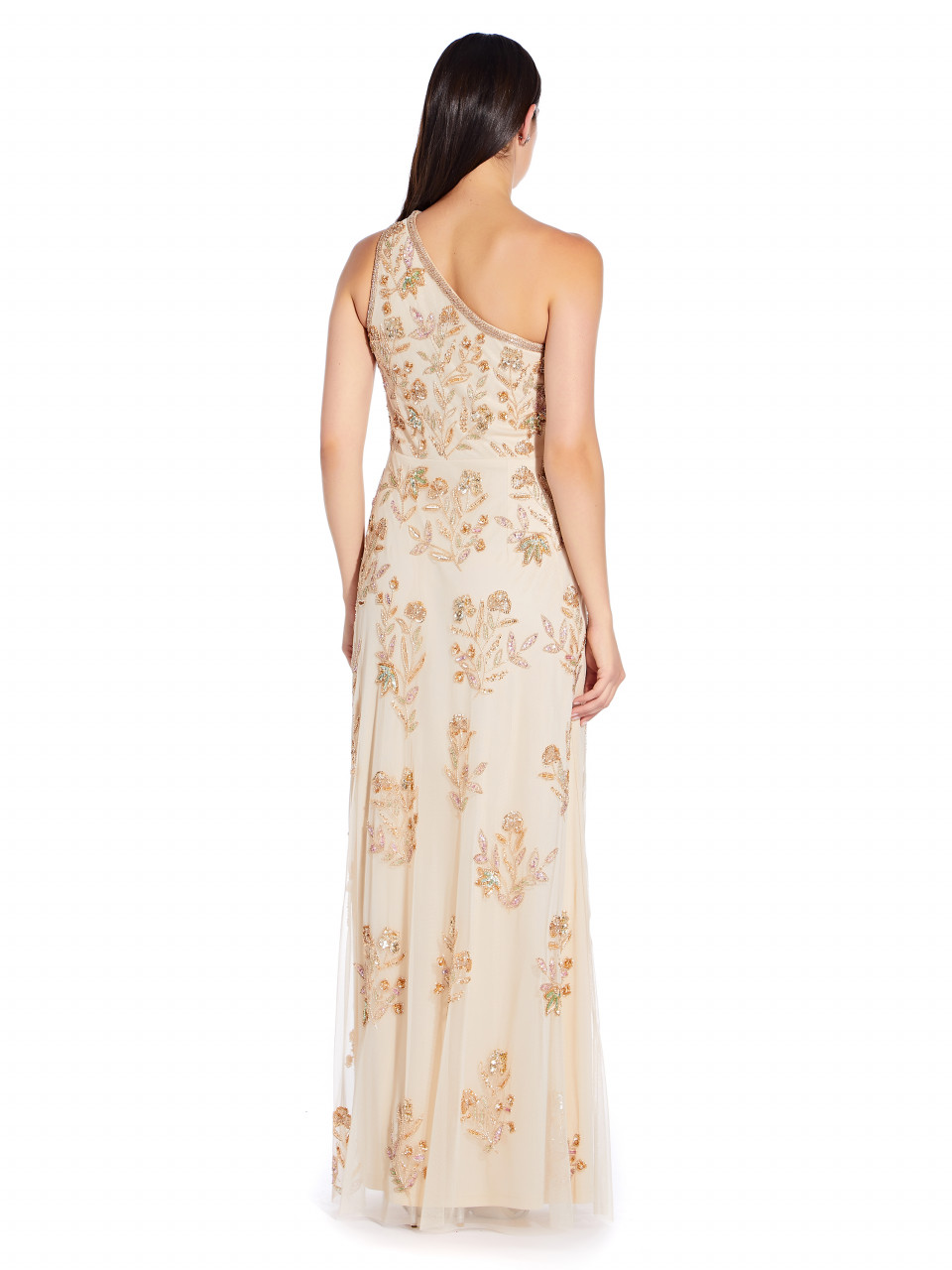Beaded one shoulder gown