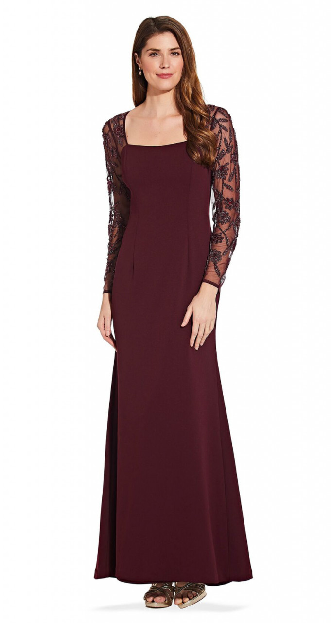 Long sleeve mermaid dress with beaded detail