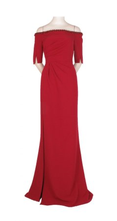Stretch crepe pleated gown